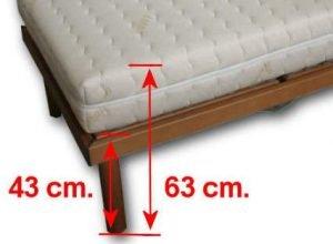 L'altezza standard di una rete letto è di 43 cm. da terra e 63 cm. col materasso